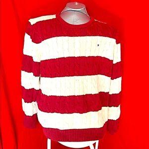 TOMMY HILFIGER- Dark Red Striped Sweater